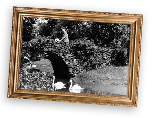 Historic photo of Herbert H. Dow on bridge at Dow Gardens