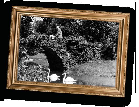 Historic photo of Herbert H. Dow on bridge at Dow Gardens